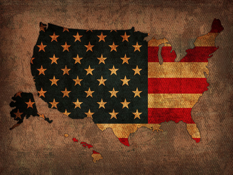 Map Of America United States Usa With Flag Art On Distressed Worn Canvas Mixed Media