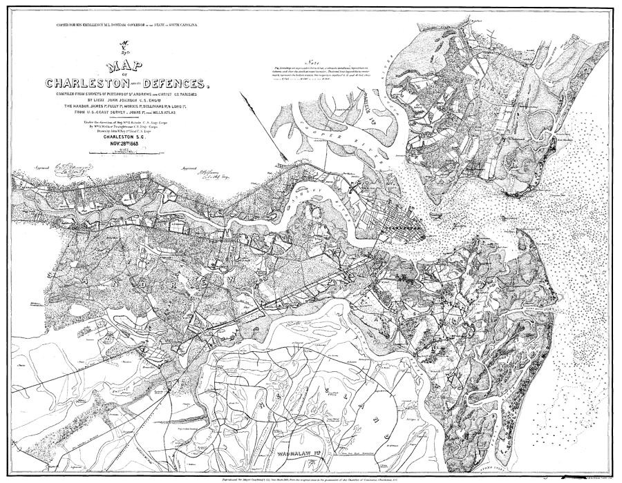 Map Of Charleston And Civil War Defences Drawing By Sailor