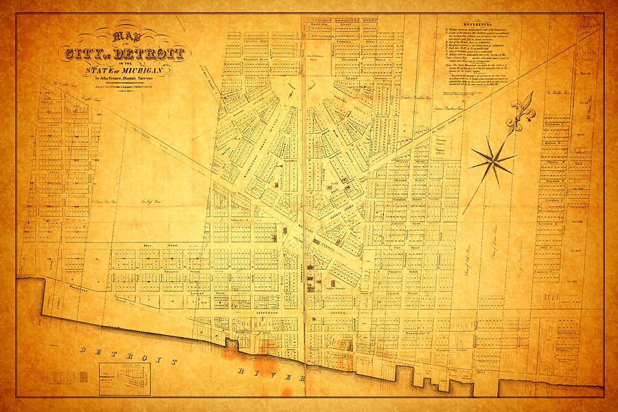 Map Of Detroit Michigan C 1835 Mixed Media  - Map Of Detroit Michigan C 1835 Fine Art Print