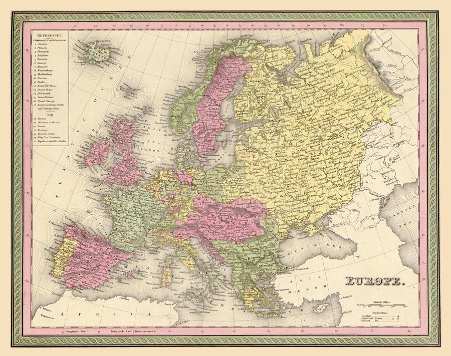 Map Of Europe Digital Art  - Map Of Europe Fine Art Print