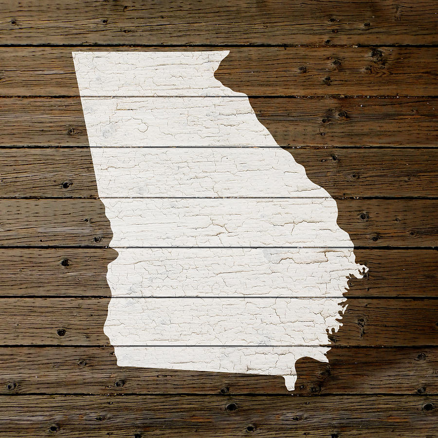 Map Of Georgia State Outline White Distressed Paint On Reclaimed Wood Planks Mixed Media By