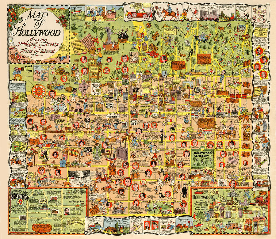Map Of Hollywood California By Harrison Godwin 1928 Photograph by California