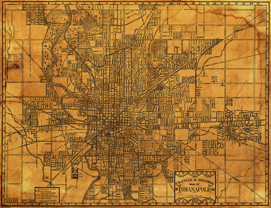 Map Of Indianapolis Mixed Media - Map Of Indianapolis Vintage Bicycle ...