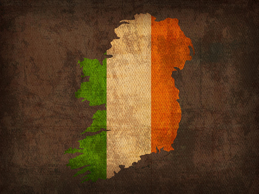 Map Of Ireland With Flag Art On Distressed Worn Canvas Mixed Media