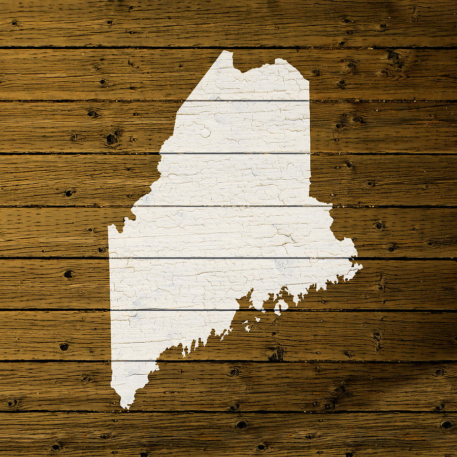 Map Of Maine State Outline White Distressed Paint On
