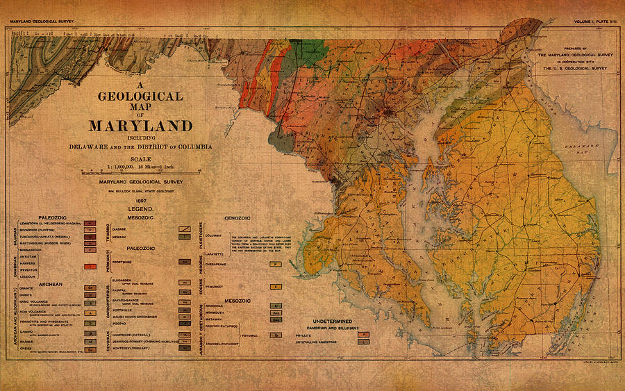 Map Of Maryland Geological 1897 Mixed Media By Design Turnpike