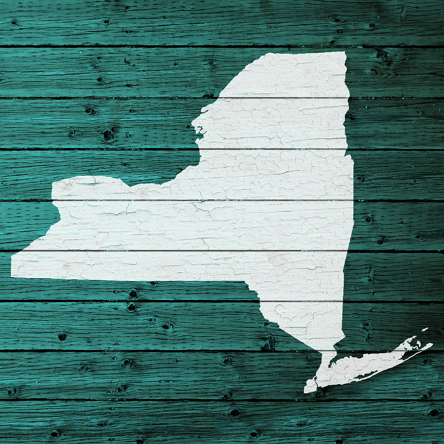 Map Of New York State Outline White Distressed Paint On