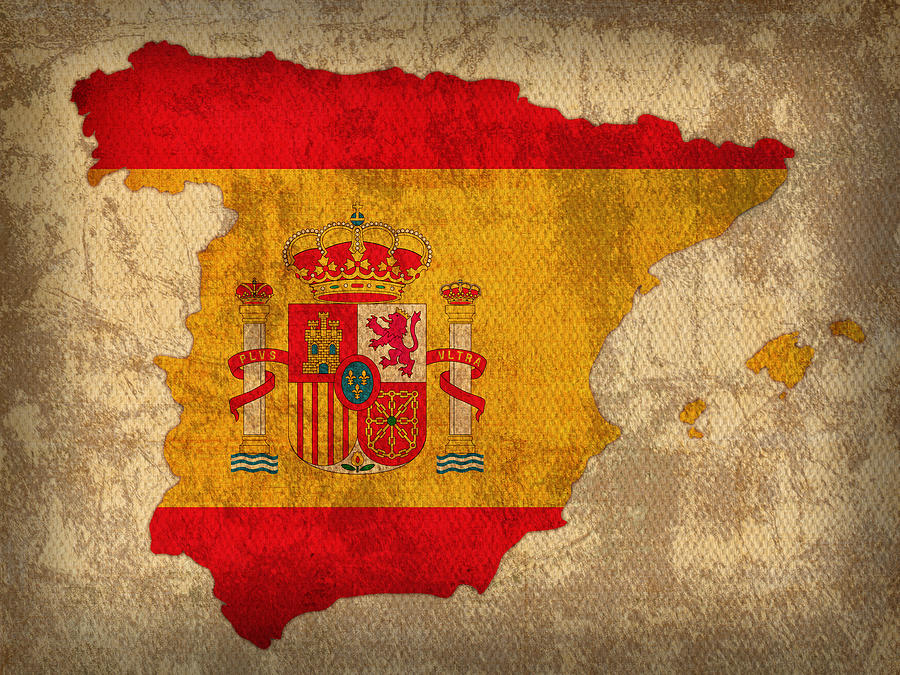 Map Of Spain With Flag Art On Distressed Worn Canvas Mixed Media
