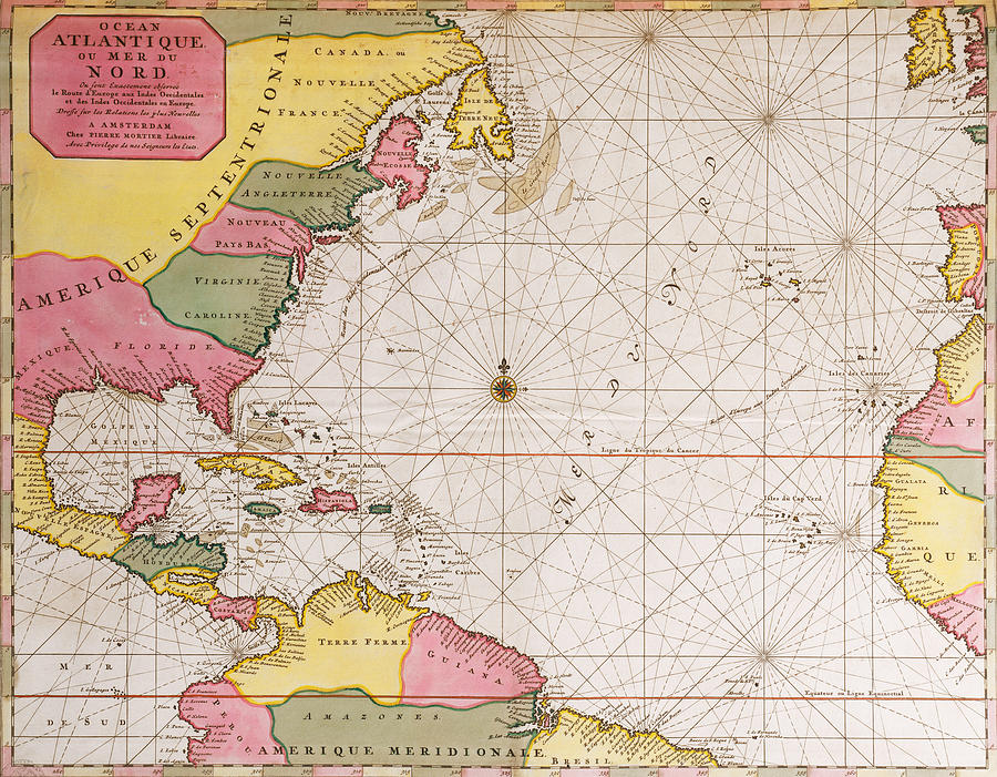 Map Of The Atlantic Ocean Showing The East Coast Of North America The Caribbean And Central America Drawing