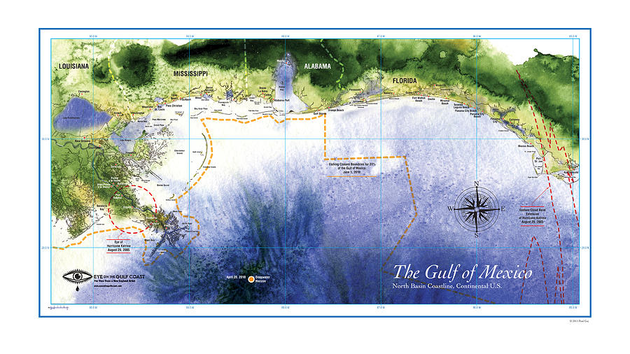Map Of The Gulf Of Mexico Northern Coast Digital Art  - Map Of The Gulf Of Mexico Northern Coast Fine Art Print