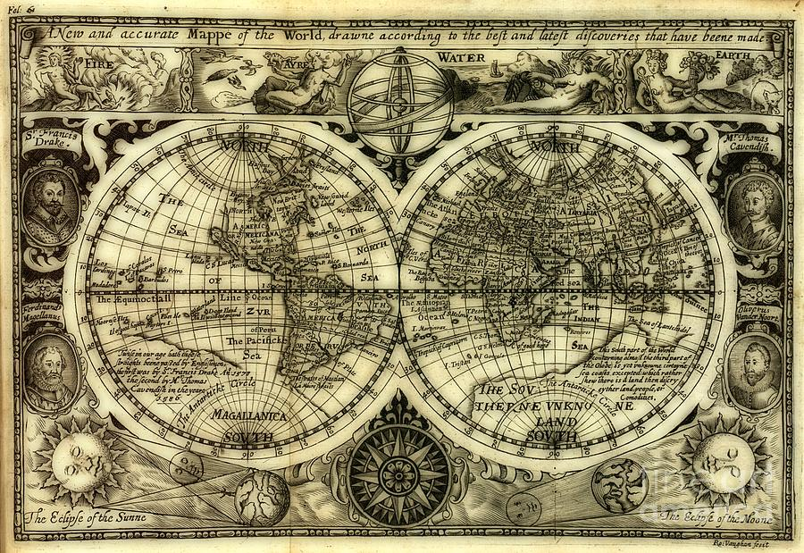 Map Of The World Antique Reproduction Photograph