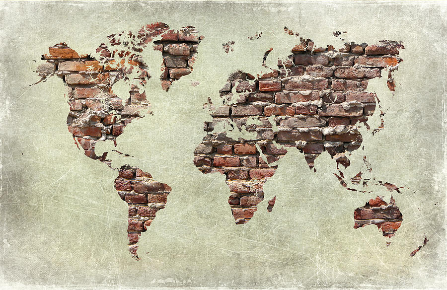 Map Of The World Like A Brick Wall Digital Art
