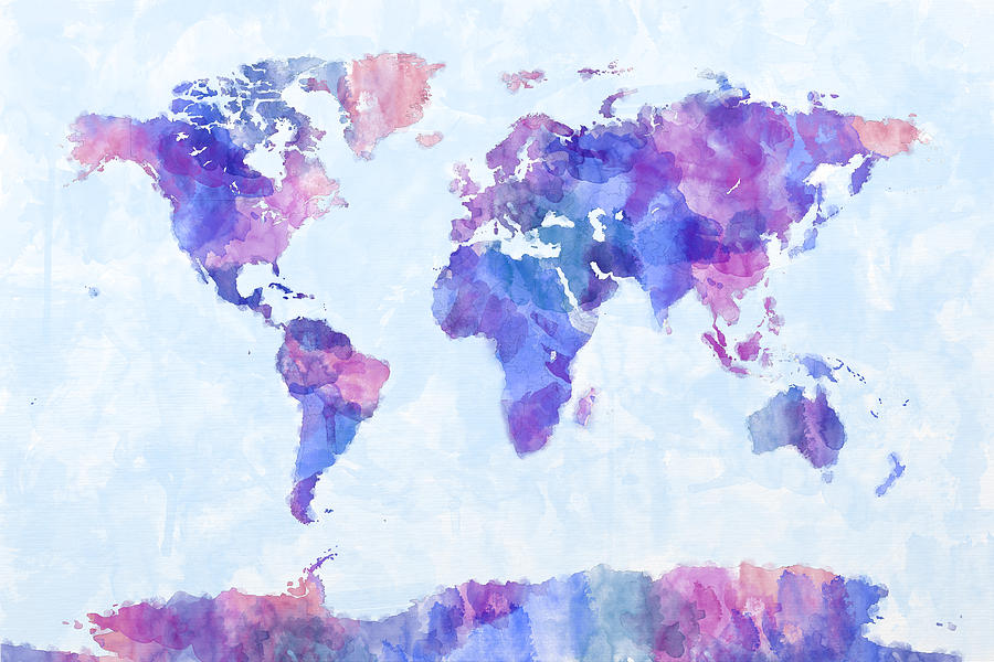 Map Of The World Map Watercolor Painting Michael Tompsett