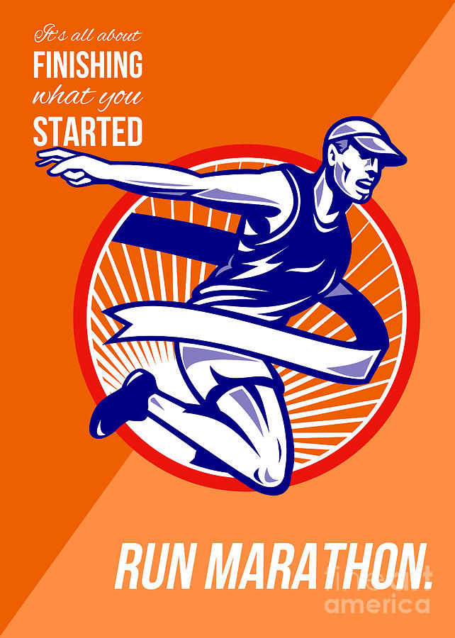 Marathon Finish What You Started Retro Poster Digital Art