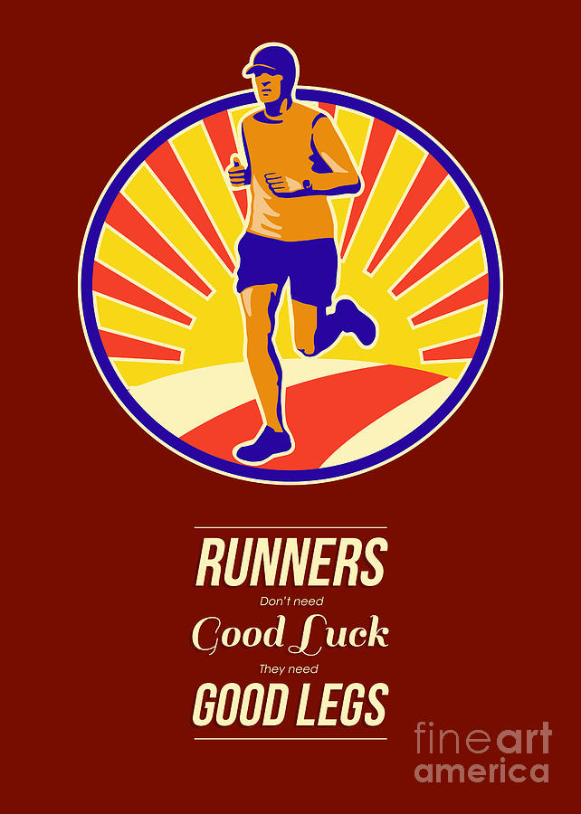 Marathon Runner Retro Poster Digital Art
