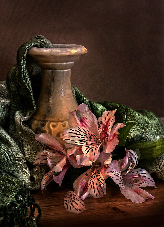 Marble Vase With Lilies Photograph  - Marble Vase With Lilies Fine Art Print