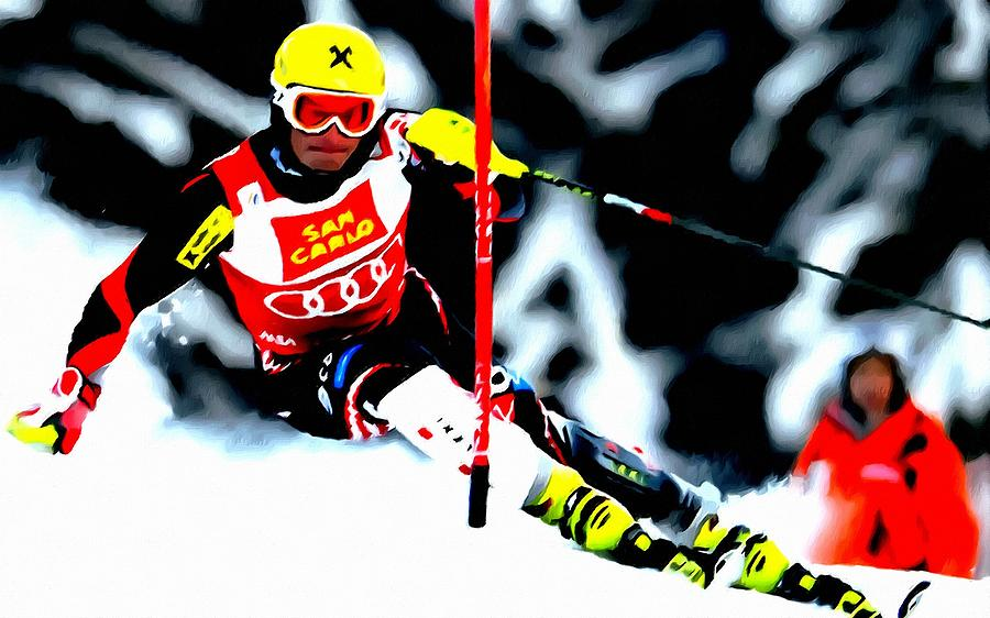Marcel Hirscher Skiing Painting