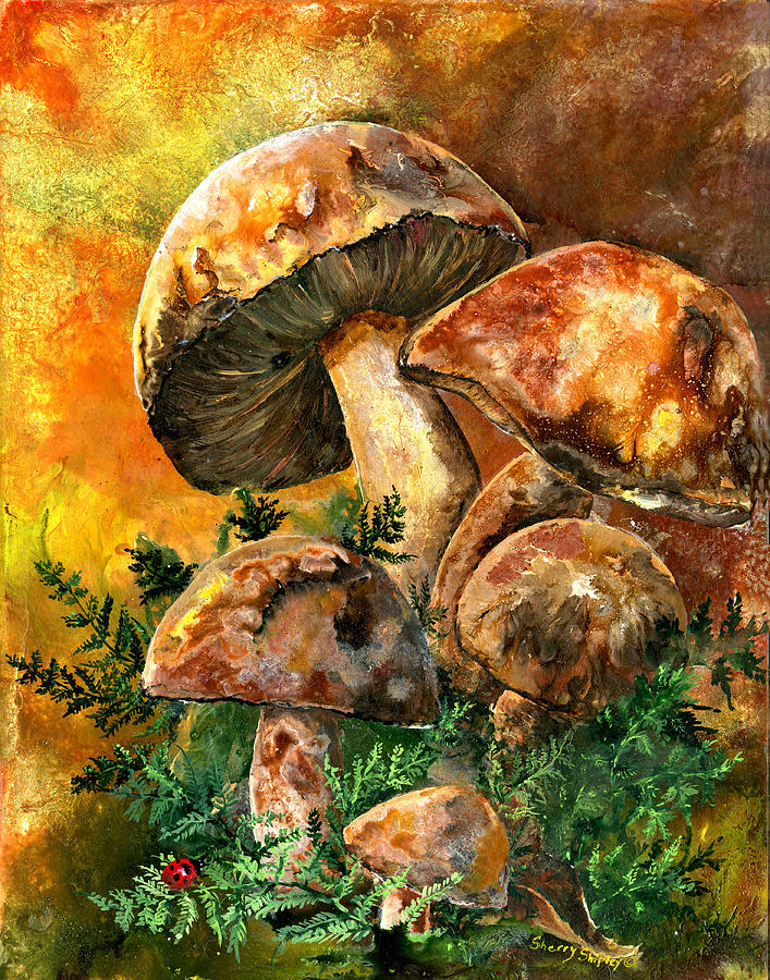 March Of The Mushrooms Painting By Sherry Shipley
