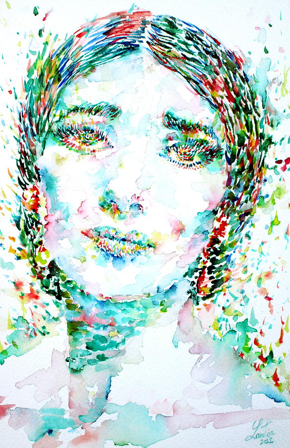 Maria Callas Watercolor Portrait Painting  - Maria Callas Watercolor Portrait Fine Art Print