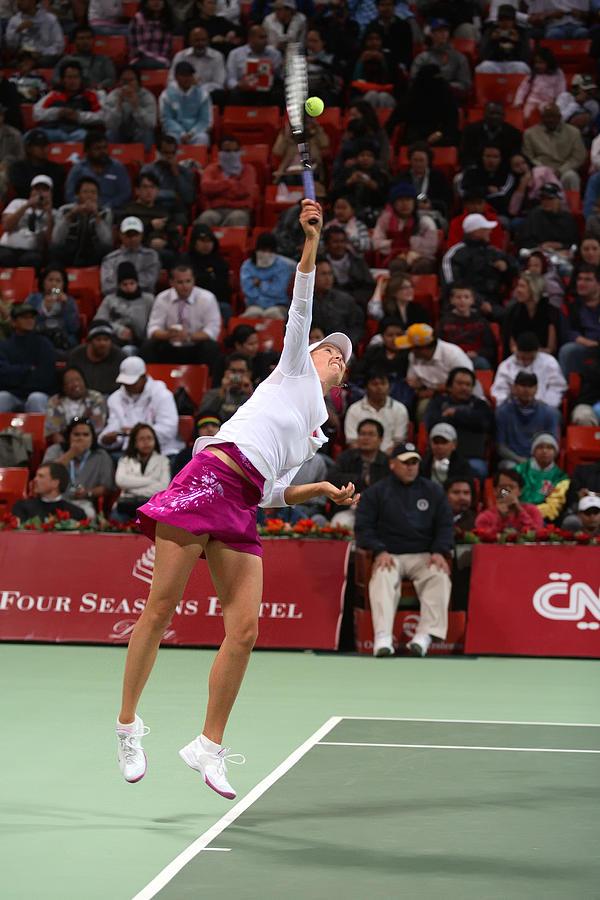 Maria Sharapova Serves In Doha Photograph