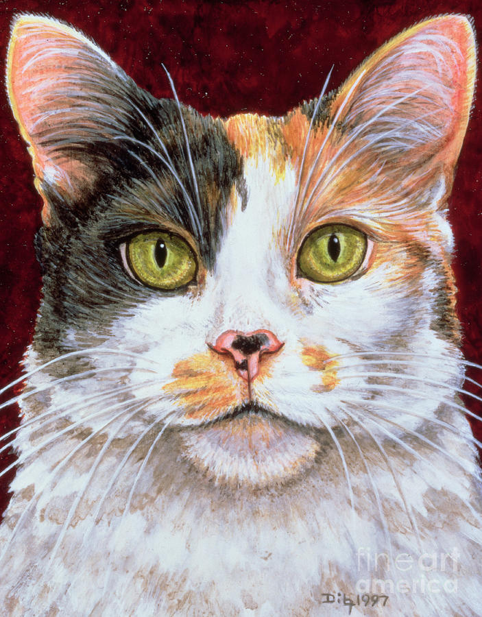 Cat Painting - Marigold by Ditz