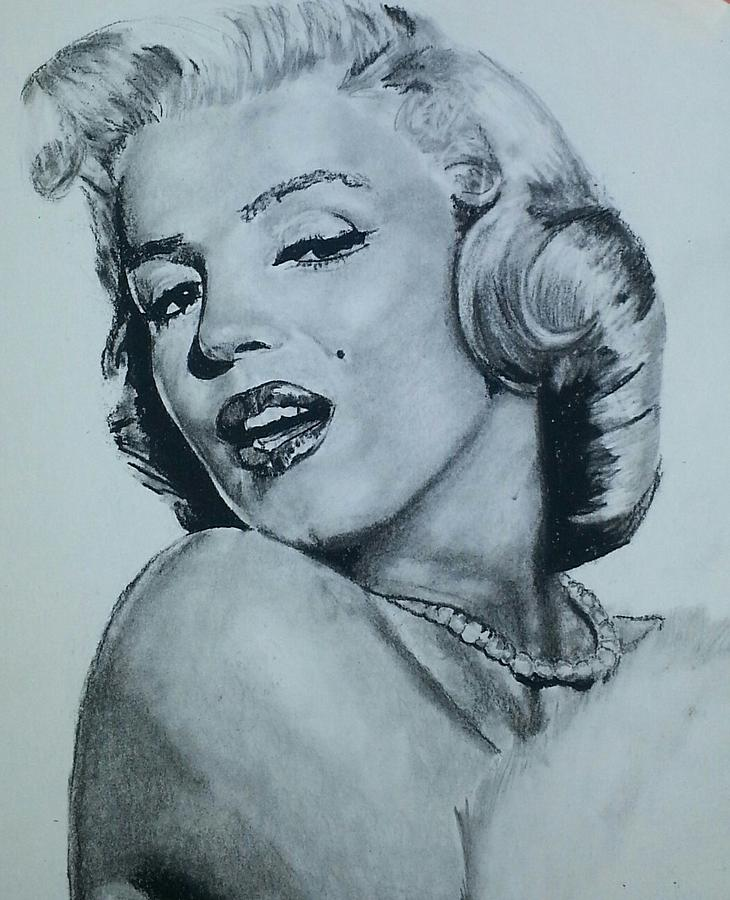 Model Drawing - Marilyn Monroe by Aaron Balderas