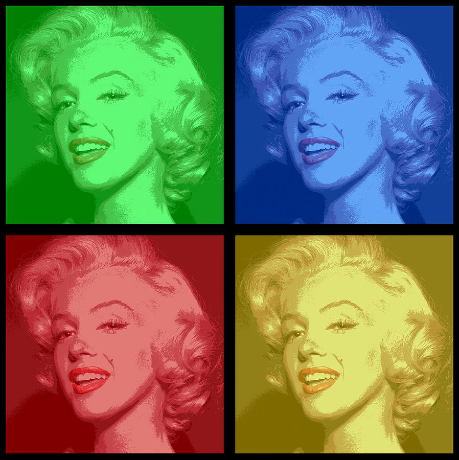 Marilyn Monroe Colored Frame Pop Art Digital Art