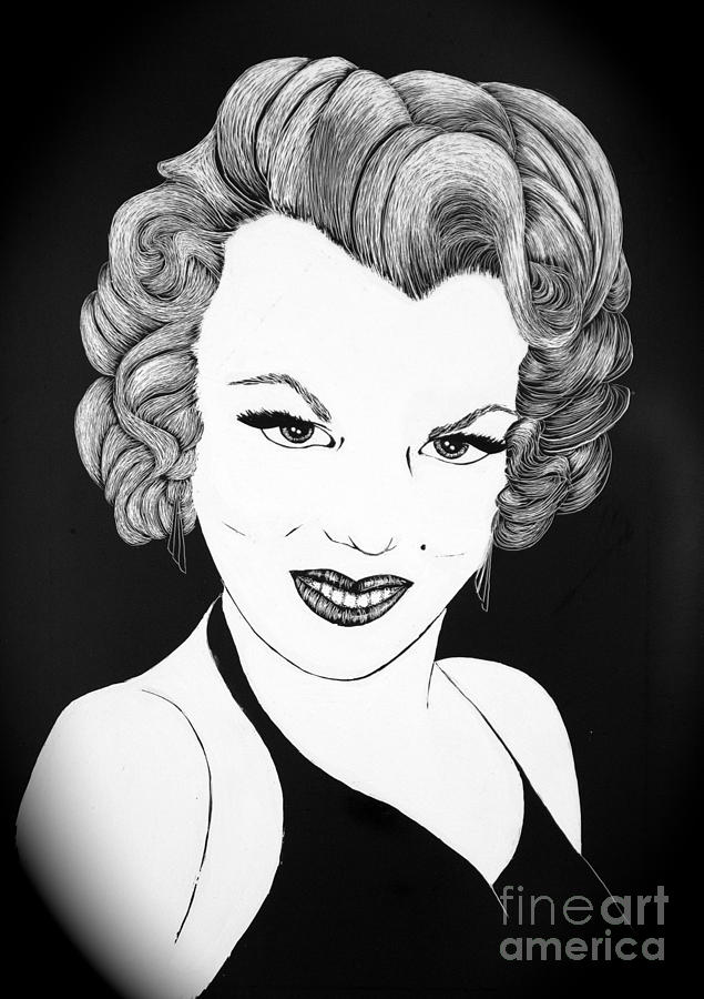 Marilyn Monroe- Scratch Bd Drawing  - Marilyn Monroe- Scratch Bd Fine Art Print