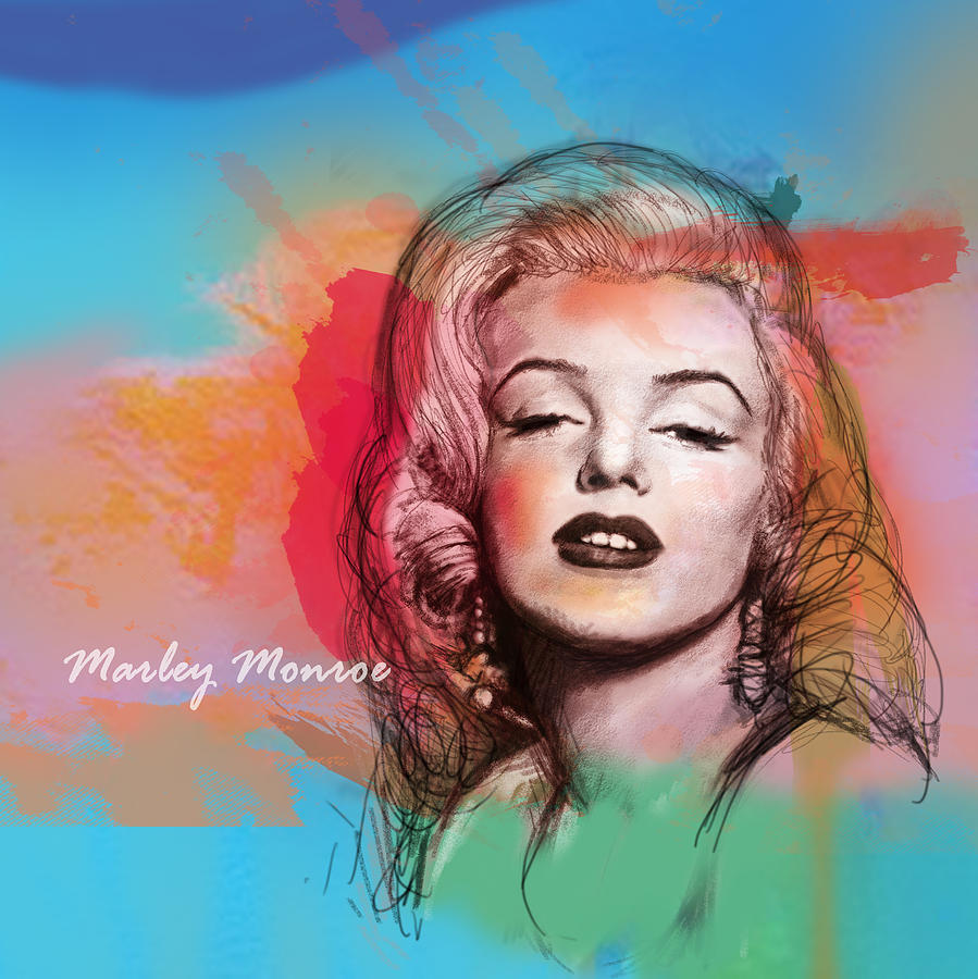 Marilyn Monroe Art Long Drawing Sketch Poster Drawing - Marilyn Monroe Stylised Pop Art Drawing Sketch Poster by Kim Wang