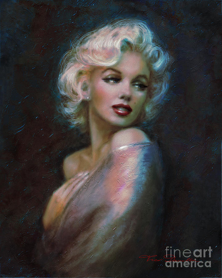 Marilyn Romantic Ww Dark Blue Painting  - Marilyn Romantic Ww Dark Blue Fine Art Print