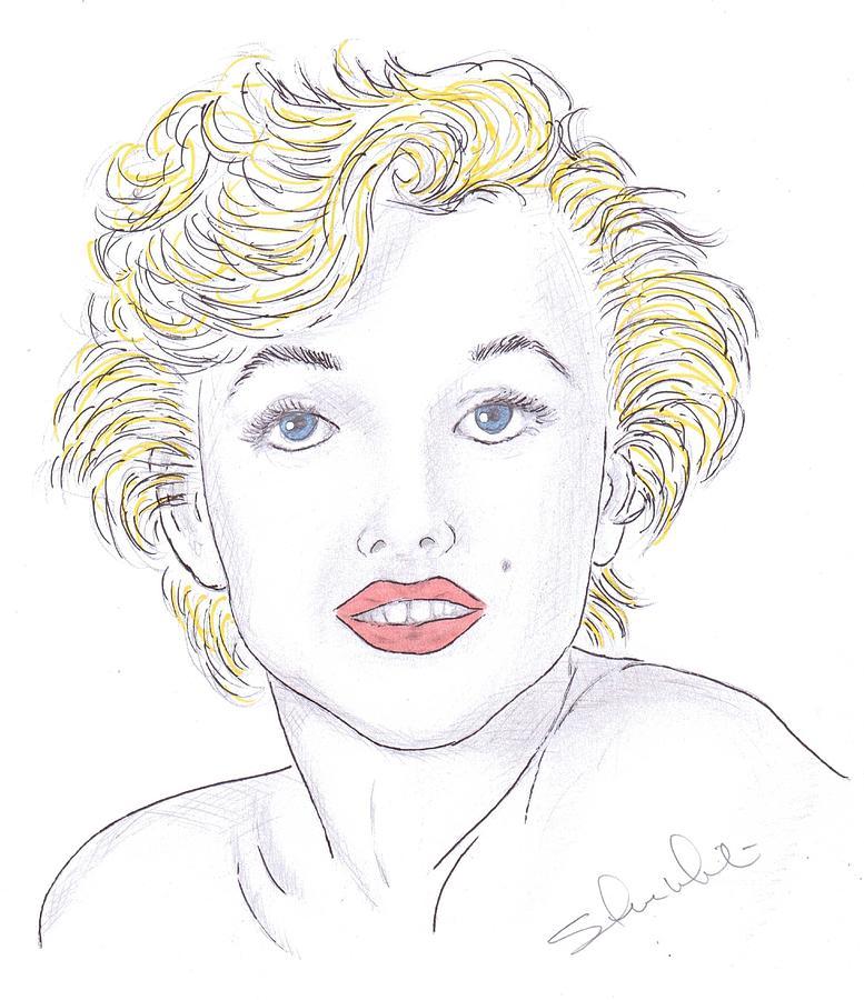 Marilyn Monroe Drawing - Marilyn by Steven White