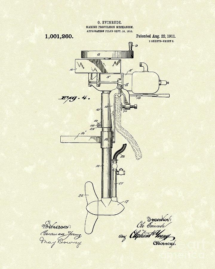 Marine Propulsion 1911 Patent Art Drawing
