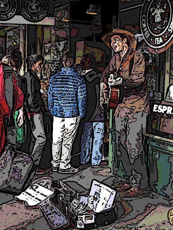 Market Busker 7 Digital Art  - Market Busker 7 Fine Art Print