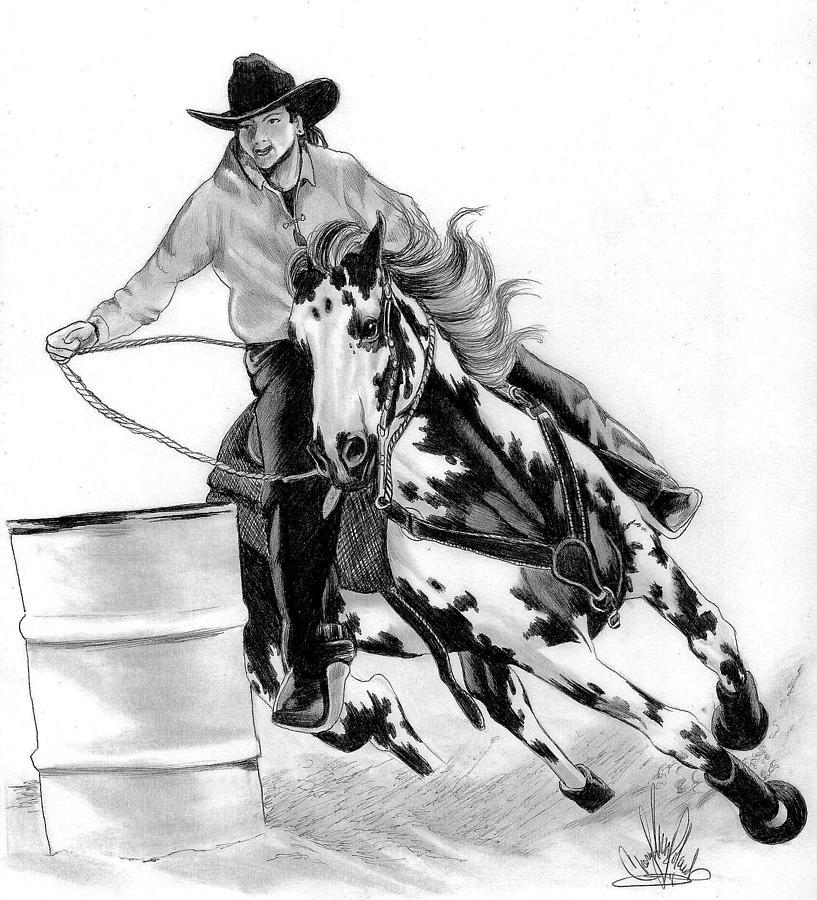 Quarter Horse Head Drawing Barrel Racing D...