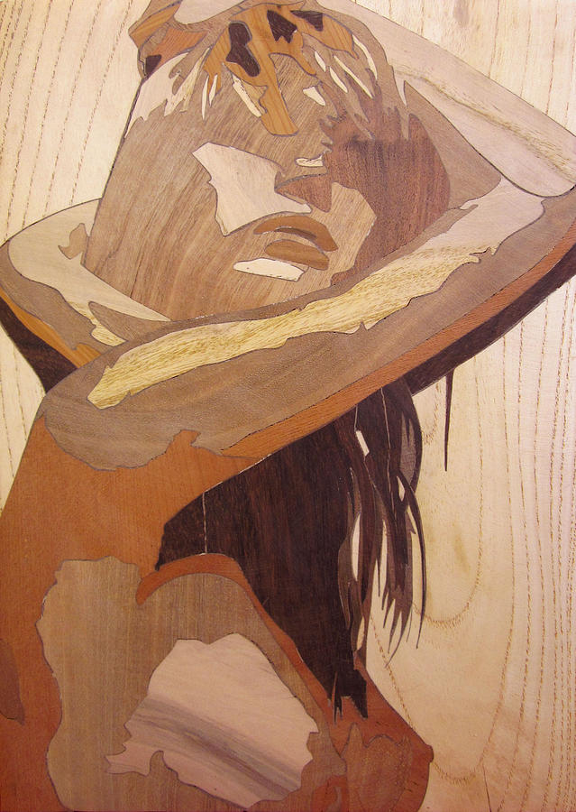 Marquetry Wood Work The Lady Sculpture By Persian Art