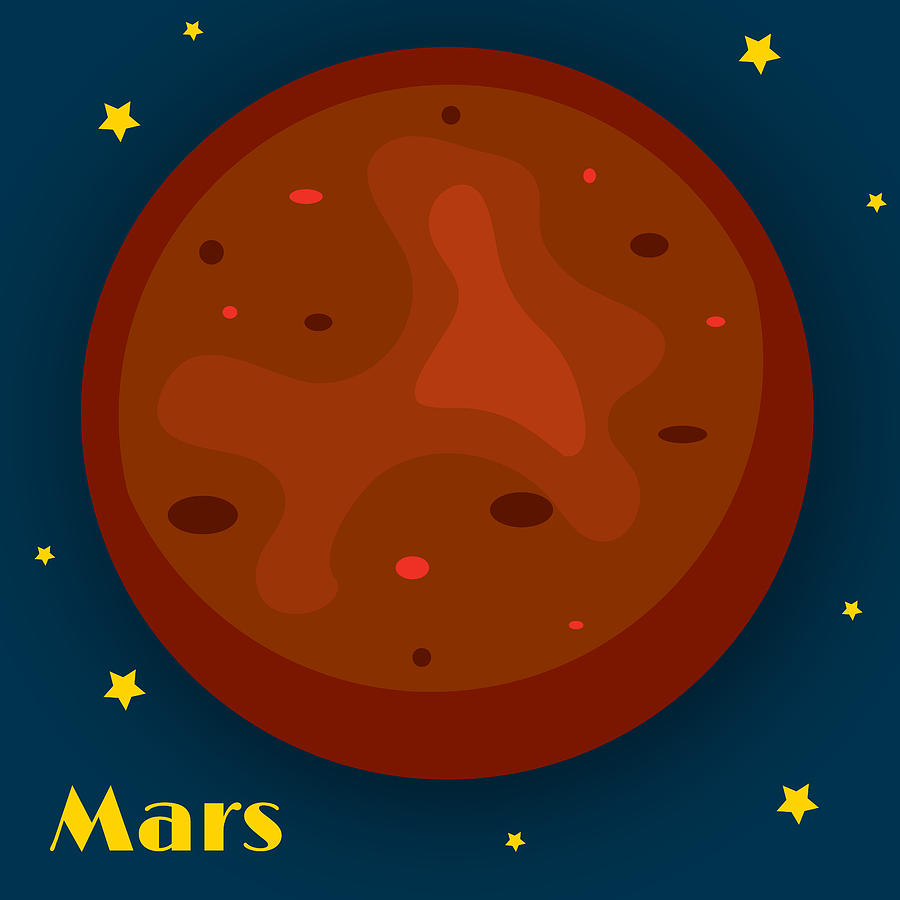 Mars Drawing - Mars by Christy Beckwith