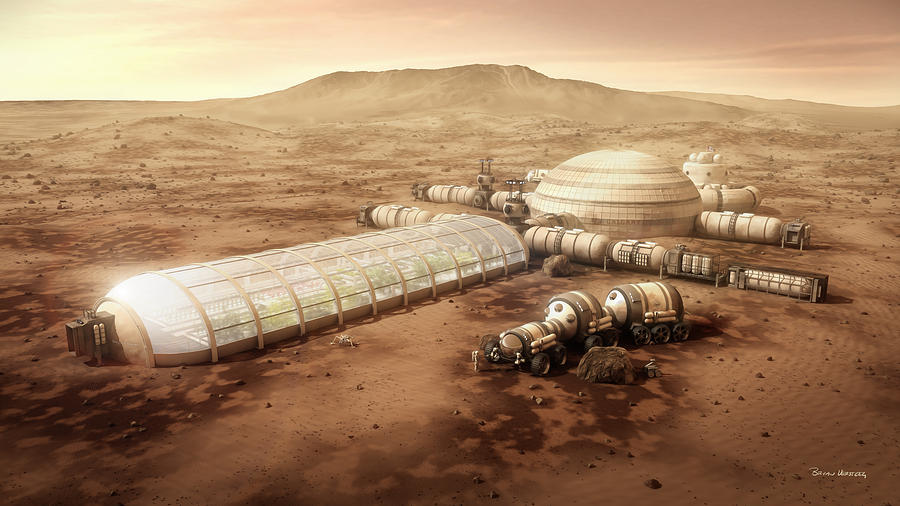Mars Settlement Digital Art - Mars Settlement With Farm by Bryan Versteeg