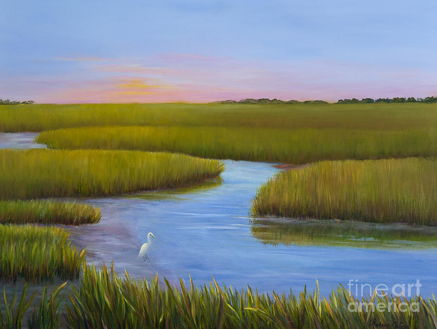 Marsh At Low Water Painting By Audrey Mcleod