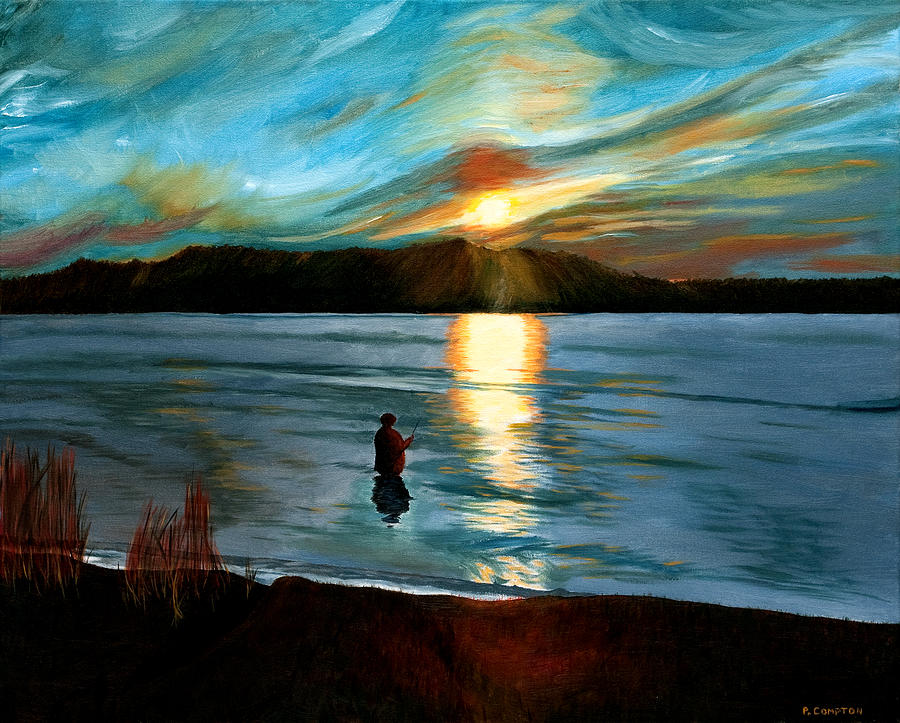 Artist Painting - Marsh Creek October Sunset by Phillip Compton