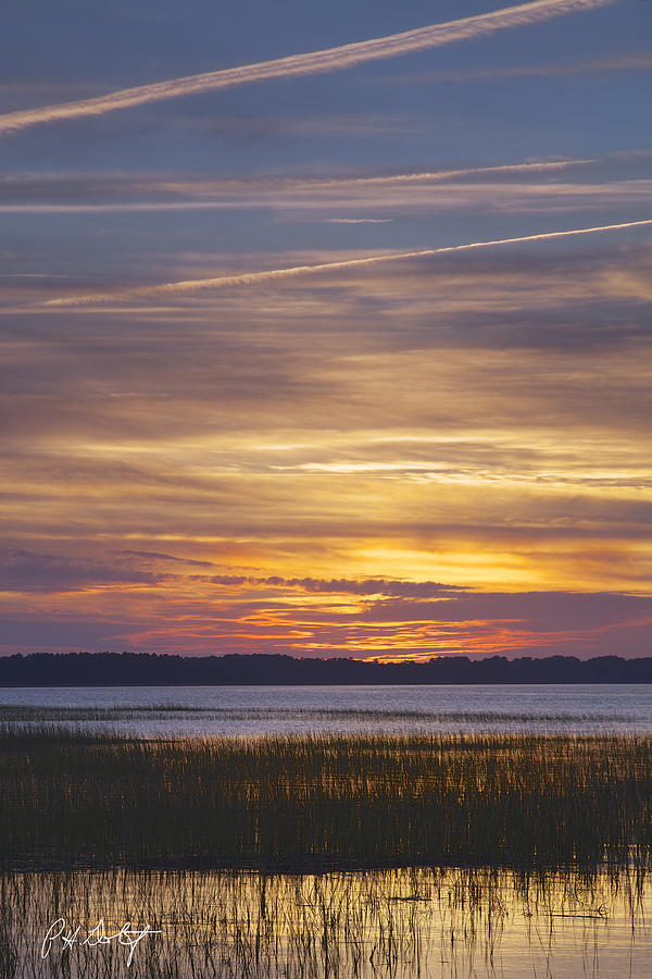 Marsh Sunset Digital Art  - Marsh Sunset Fine Art Print
