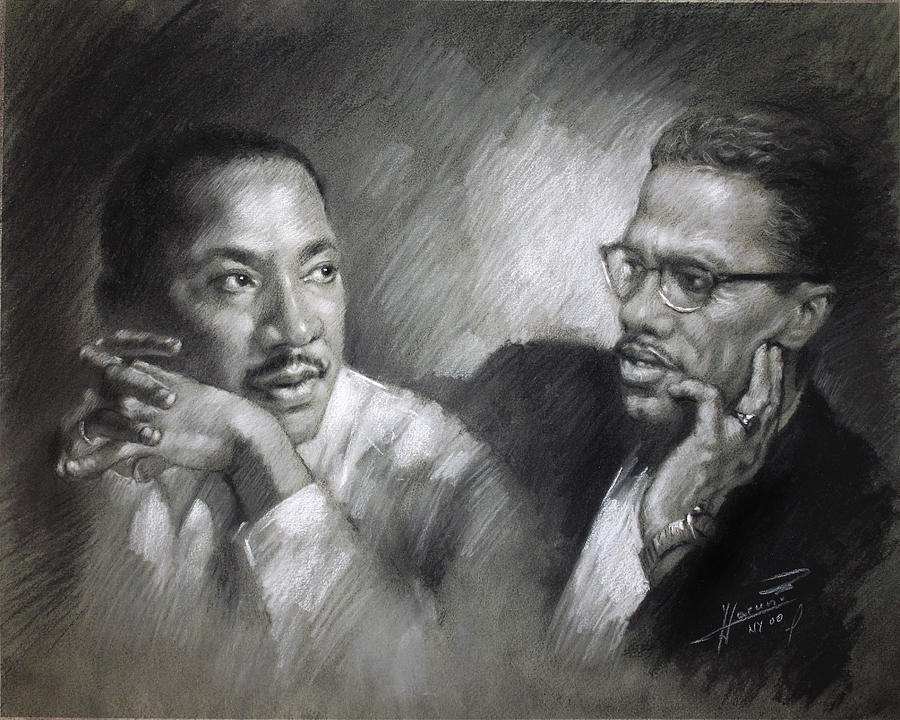 Martin Luther King Jr And Malcolm X Drawing