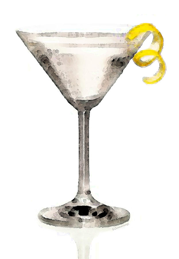 Martini Glass Art - Just Dry Painting  - Martini Glass Art - Just Dry Fine Art Print