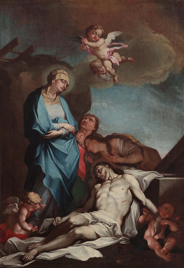 Mary And The Dead Christ, By Antonio Painting