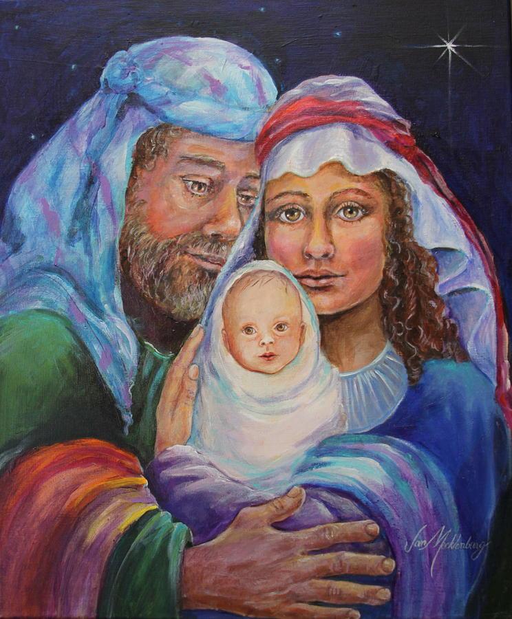 Mary joseph and baby jesus night sky with holy family painting mary