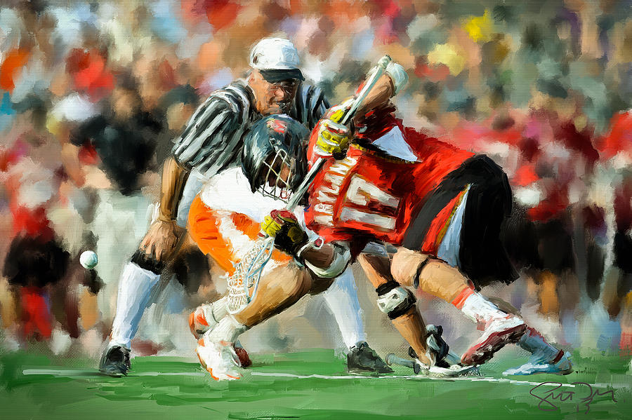Maryland Faceoff Painting  - Maryland Faceoff Fine Art Print