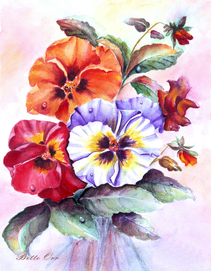 Marys Pansies Painting  - Marys Pansies Fine Art Print