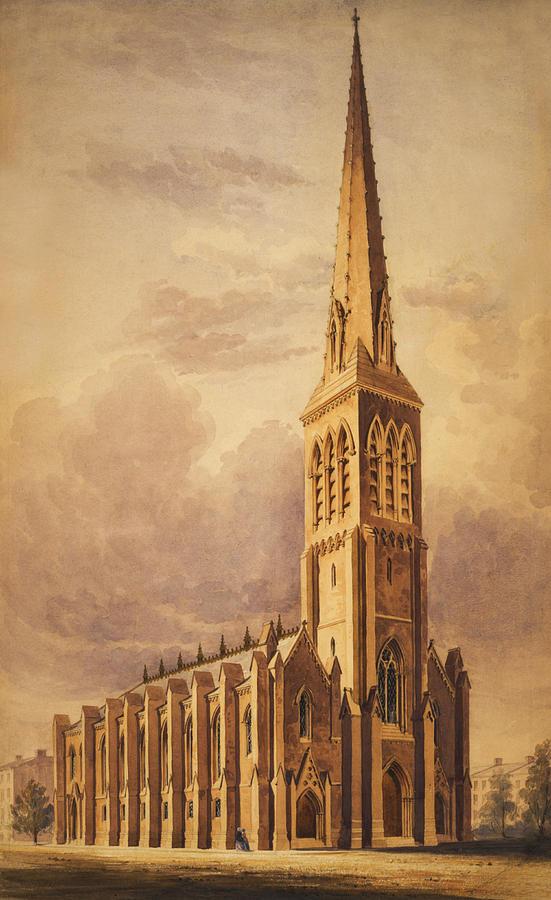 Masonry Church Circa 1850 Painting