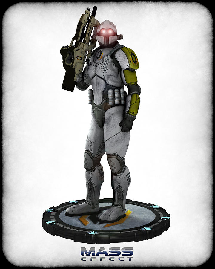 Game Digital Art - Mass Effect - Cerberus Soldier by Frederico Borges
