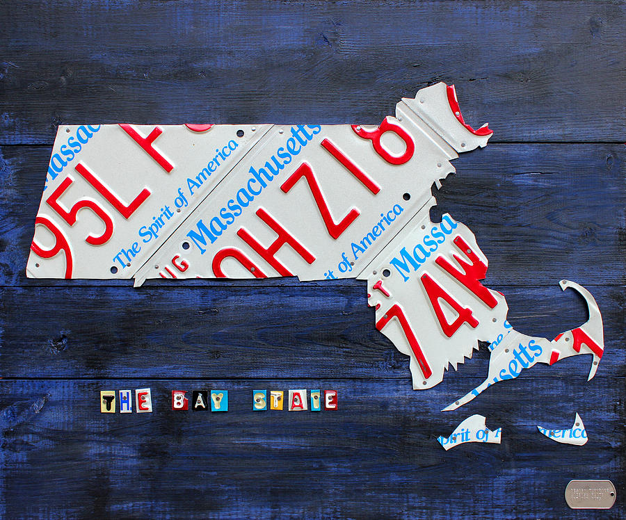 Massachusetts License Plate Map Mixed Media  - Massachusetts License Plate Map Fine Art Print
