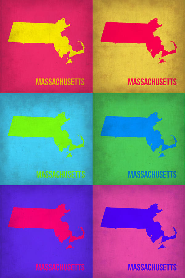 Massachusetts Pop Art Map 1 Painting  - Massachusetts Pop Art Map 1 Fine Art Print